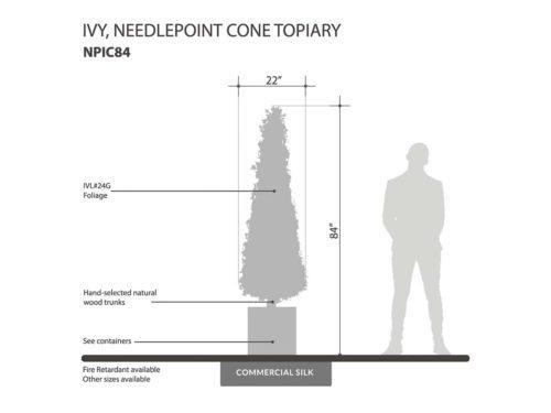 Needlepoint Ivy Cone Topiary ID# NPIC84, NPIC72